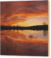Red Sunset Over Massabesic Lake Wood Print