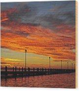 Red Sunset Pier Seaside Nj Wood Print