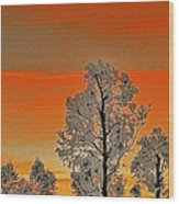 Red Sunset With Trees Wood Print