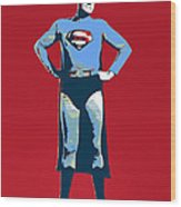 Red Superman Wood Print