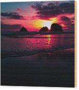 Red Surf Wood Print