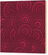 Red Swirls Wood Print