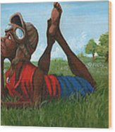 Red Tail Dreamer Wood Print