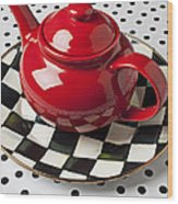 Red Teapot On Checkerboard Plate Wood Print