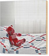 Red Teddy Bear Wood Print