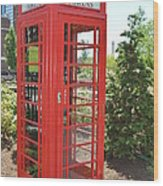 Red Token Booth Wood Print