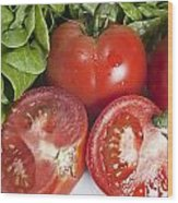 Red Tomatoes And Salade Wood Print