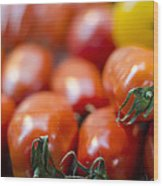 Red Tomatoes At The Market Wood Print by Heather Applegate