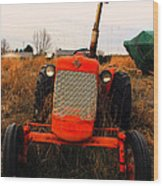 Red Tractor 2 Wood Print