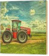 Red Tractor Farm Wood Print by  Caleb McGinn