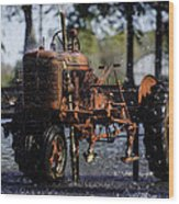 Red Tractor Fountain Wood Print