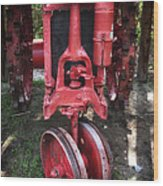 Red Tractor Wood Print by John Rizzuto