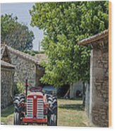Red Tractor On A French Farm Wood Print