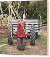 Red Tractor Ready To Roll Wood Print