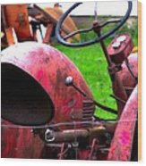Red Tractor Rural Photography Wood Print