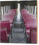 Red Train Seats Wood Print