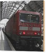 Red Train To The Main Train Station In Frankfurt Am Main Germany Wood Print