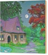 Red Tree Cottage At Dusk Wood Print