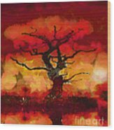 Red Tree Of Life Wood Print by Pixel Chimp