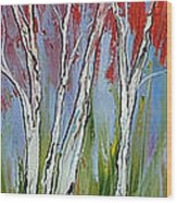 Red Trees Of Autumn Wood Print