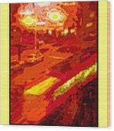 Red Trolley Portland Wood Print