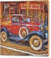 Red Truck Photo Art Wood Print