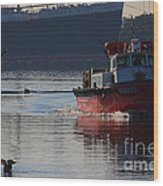Red Tug Boat Wood Print