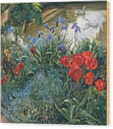 Red Tulips And Geese  Wood Print