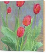 Red Tulips Colorful Painting Of Flowers By K. Joann Russell Wood Print