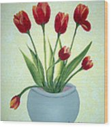 Red Tulips In A Pot Wood Print