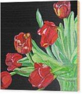 Red Tulips In Vase Wood Print