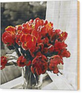 Red Tulips In Window Wood Print