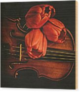 Red Tulips On A Violin Wood Print