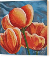 Red Tulips On Blue Wood Print