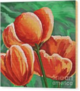 Red Tulips On Green Wood Print