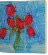 Red Tulips With Blue Background Wood Print by Patricia Awapara