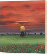 Red Tuscan Sunrise With Poppy Field Wood Print