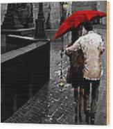 Red Umbrella 2 Wood Print