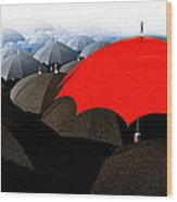 Red Umbrella In The City Wood Print