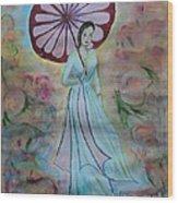 Red Umbrella  Wood Print