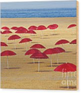 Red Umbrellas Wood Print by Carlos Caetano