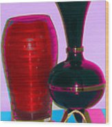 Red Vase And Black Vase Wood Print by Good Taste Art