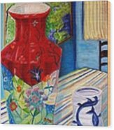 Red Vase And Cup Wood Print