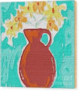 Red Vase Of Flowers Wood Print