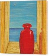 Red Vase Wood Print