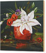 Red Vase With Lily And Pansies Wood Print