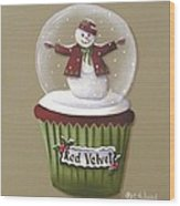 Red Velvet Cupcake Wood Print