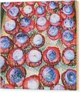 Red Velvet Superbowl Cupcakes Wood Print by Lexa Newman