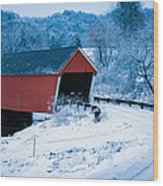 Red Vermont Covered Bridge Wood Print