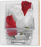 Red Versus White Roses Wood Print